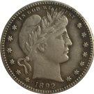 1 Pcs 1892 QUARTER DOLLARS BARBER COINS COPY