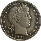 1 Pcs 1901 QUARTER DOLLARS BARBER COINS COPY