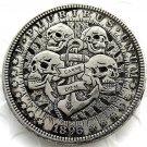 US 1896 Morgan Dollar skull zombie skeleton hand carved Copy Coins