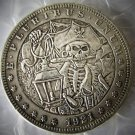 US 1921 Morgan Dollar With Pirate Skull Zombie Skeleton Hand Carved Copy Coins