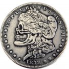 US 1878cc Morgan Dollar skull zombie skeleton hand carved Copy Coins