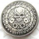 US Hobo 1921 Morgan Dollar Skull Zombie Skeleton Hand Carved Creative Copy Coins