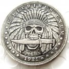 US Hobo 1921 Morgan Dollar Skull With Knife Skeleton Hand Carved Creative Copy Coins