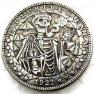 US Hobo 1921 Morgan Dollar skull zombie skeleton Creative Coin Pressed Copy Coins