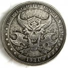 US Hobo 1921 Morgan Dollar Axe Skull Zombie Skeleton Hand Carved Creative Copy Coins
