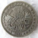 US 1901 Morgan Dollar With Warfare skull zombie skeleton Hand Carved Copy Coins