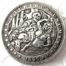 US Hobo 1897 Morgan Dollar skull and sexy lady Creative Copy Coins