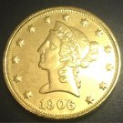 1906 United States Liberty Head (Motto on Reverse) $10 Gold Copy Coin