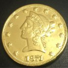 1871 United States Liberty Head (Motto on Reverse) $10 Gold Copy Coin