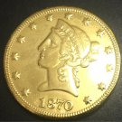 1870 United States Liberty Head (Motto on Reverse) $10 Gold Copy Coin