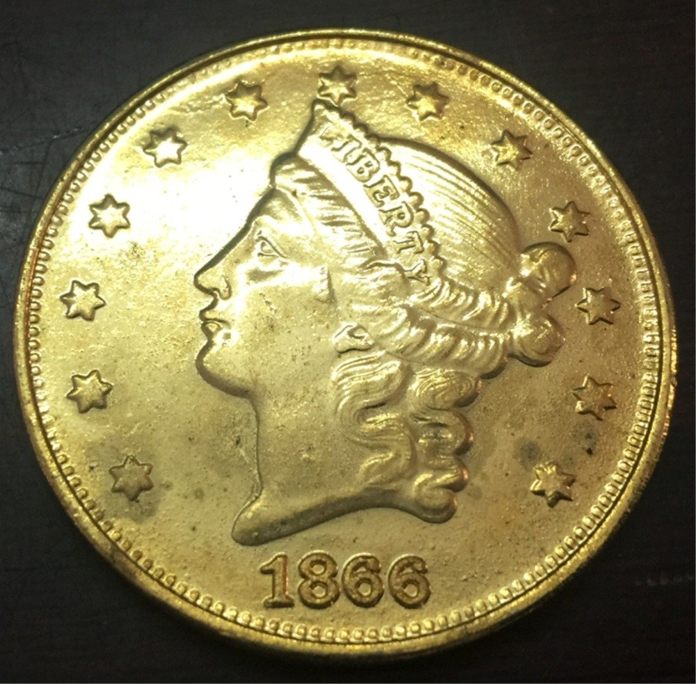 1866-S United States LIBERTY HEAD (NO MOTTO ON REVERSE) $20 Gold Plated Copy Coin