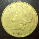 1865 United States LIBERTY HEAD (NO MOTTO ON REVERSE) $20 Gold Plated Copy Coin