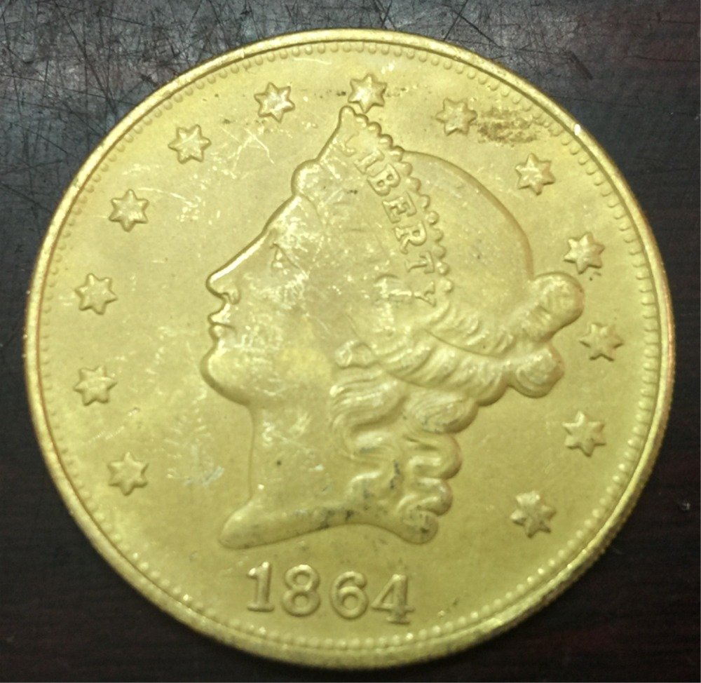 1864 United States LIBERTY HEAD (NO MOTTO ON REVERSE) $20 Gold Plated Copy Coin