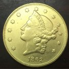 1862 United States LIBERTY HEAD (NO MOTTO ON REVERSE) $20 Gold Plated Copy Coin