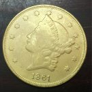 1861 United States LIBERTY HEAD (NO MOTTO ON REVERSE) $20 Gold Plated Copy Coin