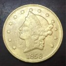 1858 United States LIBERTY HEAD (NO MOTTO ON REVERSE) $20 Gold Plated Copy Coin