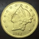 1856 United States LIBERTY HEAD (NO MOTTO ON REVERSE) $20 Gold Plated Copy Coin
