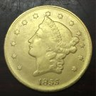 1855 United States LIBERTY HEAD (NO MOTTO ON REVERSE) $20 Gold Plated Copy Coin