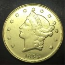 1854 United States LIBERTY HEAD (NO MOTTO ON REVERSE) $20 Gold Plated Copy Coin