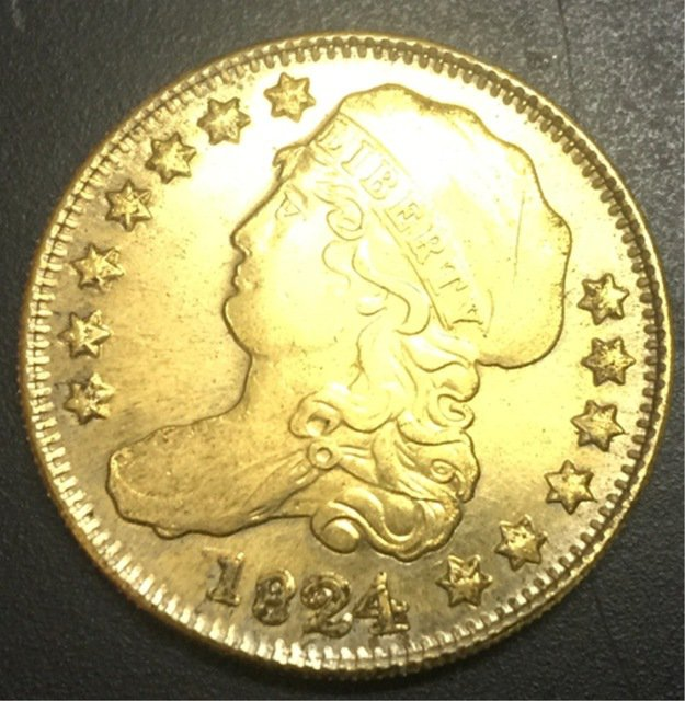 1824 US Capped Bust $5 Gold Plated Dollar Coin Copy