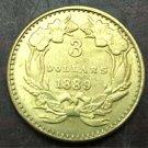 1889 US $3 gold dollar Gold copy Coin