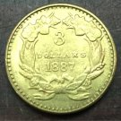 1887 US $3 gold dollar Gold copy Coin
