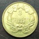 1886 US $3 gold dollar Gold copy Coin