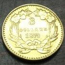 1873 US $3 gold dollar Gold copy Coin