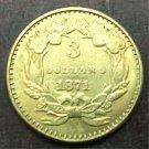 1871 US $3 gold dollar Gold copy Coin