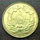 1867 US $3 gold dollar Gold copy Coin