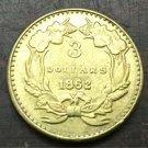 1862 US $3 gold dollar Gold copy Coin