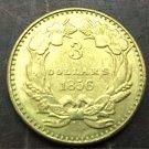 1856 US $3 gold dollar Gold copy Coin