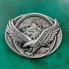 1 Pcs Fashion Men's Oval 3D Silver Fly Eagle Metal Cowboy Belt Buckle