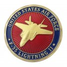 United States Air Force USAF F-35 Lightning II Gold Plated Challenge Copy Coin For Collection