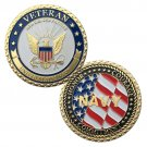 U.S NAVY VETERAN Gold Plated Challenge Copy Coin For Collection