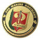 United States Marine Corps USMC 2ND Marine Regiment Gold Plated Challenge Coin For Collection