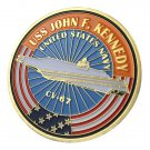 U.S. Navy USS John F. Kennedy / CV-67 Gold Plated Challenge Coin For Collection