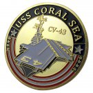 United States Navy USS Coral Sea CV-43 Gold Plated Challenge Coin For Collection