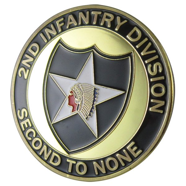 U.S. ARMY 2nd Infantry Division Second To None Gold Plated Challenge Coin