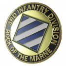 """U.S. ARMY 3rd Infantry Division """"Rock Of The Marne"""" Gold Plated Challenge Coin"""