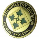 """U.S. ARMY 4th Infantry Division """"Steadfast And Loyal"""" Gold Plated Challenge Coin"""