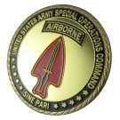"""U.S. ARMY Special Operations Command """"Sine Pari"""" Gold Plated Challenge Coin"""