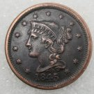 1 Pcs US 1845 Braided Hair One Cent Copper Copy Coin