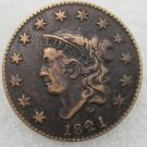 1 Pcs US 1821 Braided Hair One Cent Copper Copy Coin