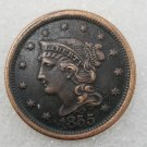 1 Pcs US 1855 Braided Hair One Cent Copper Copy Coin