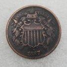1 Pcs US 1867 Two Cents Copper Copy Coin