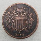 1 Pcs US 1870 Two Cents Copper Copy Coin
