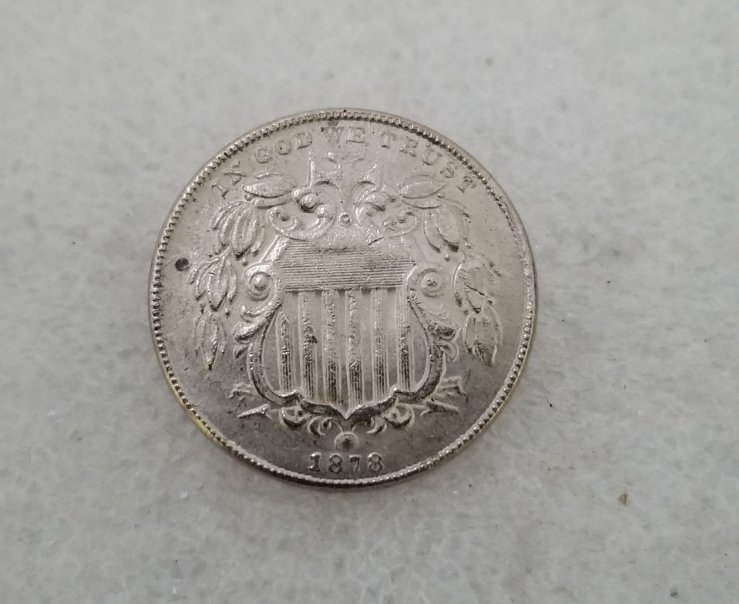 1 Pcs US 1878 Shield Five Cents Nickel Copy Coin
