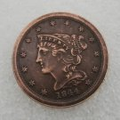 1 Pcs US 1844 Braided Hair Half Cent Copper Copy Coin