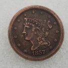 1 Pcs US 1857 Braided Hair Half Cent Copper Copy Coin